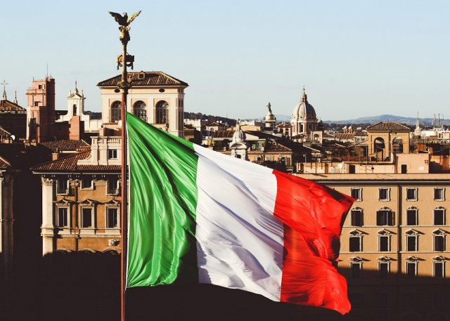 Roman view with Italian flag, Rome Italy